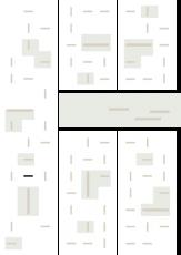 Oversigtskort for teglparken med markering af konstruktionen: RT 445.Rustica Rød/Brun Patina